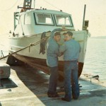 1966-67, Gilbert Newman and 1967-68, Robert Soldenski work on CG253109 on pier deck of DRL, August 1967