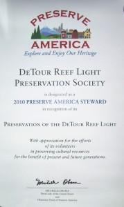 Preserve America Certificate