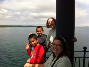 Kids touring the DeTour Reef Light